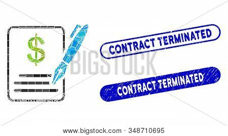 Mosaic Contract And Grunge Stamp Watermarks With Contract Terminated Text. Mosaic Vector Contract Is