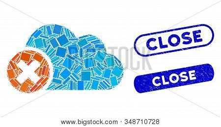 Mosaic Close Cloud And Grunge Stamp Seals With Close Phrase. Mosaic Vector Close Cloud Is Formed Wit