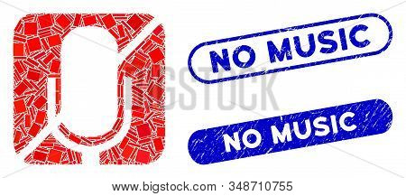 Mosaic Mute And Grunge Stamp Seals With No Music Caption. Mosaic Vector Mute Is Designed With Random