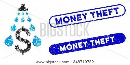Mosaic Money Laundering And Grunge Stamp Seals With Money Theft Phrase. Mosaic Vector Money Launderi