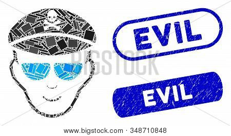 Mosaic Evil Soldier Face And Corroded Stamp Seals With Evil Caption. Mosaic Vector Evil Soldier Face