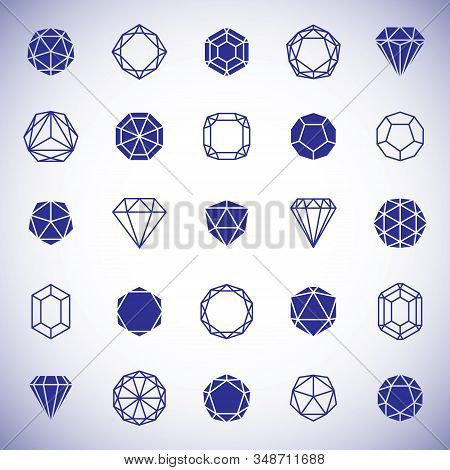 Vector Abstract Geometric Forms Collection Can Be Used As Corporate Business Identity Logo. Faceted