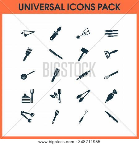 Kitchenware Icons Set With Kitchenware, Sharp, Pastry Bag And Other Grater Elements. Isolated Illust