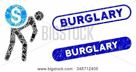 Collage Financial Courier And Corroded Stamp Seals With Burglary Phrase. Mosaic Vector Financial Cou