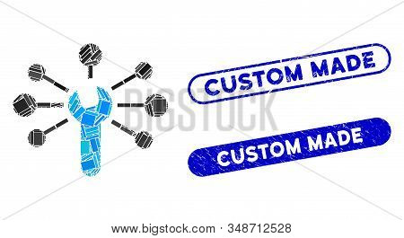 Mosaic Service Wrench Relations And Distressed Stamp Seals With Custom Made Caption. Mosaic Vector S