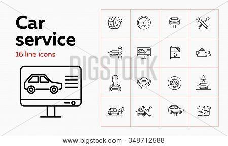 Car Service Line Icon Set. Set Of Line Icons On White Background. Auto Concept. Car, Checking, Machi