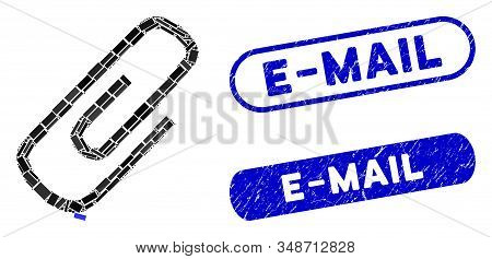Mosaic Attach And Grunge Stamp Seals With E-mail Caption. Mosaic Vector Attach Is Designed With Rand