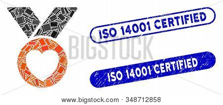 Collage Charity Medal And Corroded Stamp Seals With Iso 14001 Certified Caption. Mosaic Vector Chari