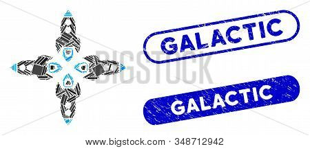 Collage Rockets And Distressed Stamp Watermarks With Galactic Phrase. Mosaic Vector Rockets Is Forme