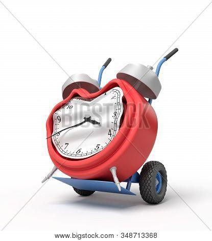 3d Rendering Of Smashed Broken Alarm Clock On A Hand Truck
