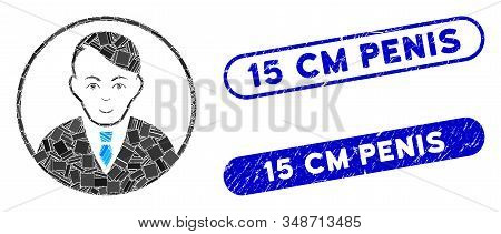 Mosaic Rounded Gentleman And Corroded Stamp Seals With 15 Cm Penis Caption. Mosaic Vector Rounded Ge
