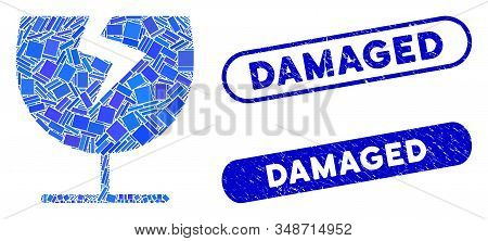 Mosaic Broken Glass Cup And Rubber Stamp Seals With Damaged Caption. Mosaic Vector Broken Glass Cup