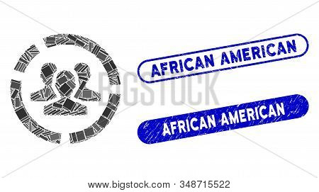 Mosaic Users Diagram And Grunge Stamp Seals With African American Caption. Mosaic Vector Users Diagr