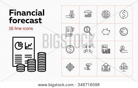 Financial Forecast Icons. Set Of Line Icons. Analytics, Profit, Capital. Budget Concept. Vector Illu