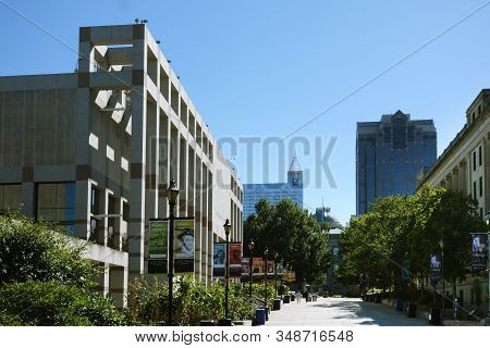 Raleigh,nc/usa - 10-03-2017: View Of Downtown Raleigh Looking Down Bicentennial Plaza With The Nc Hi