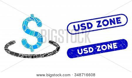 Mosaic Dollar Location And Distressed Stamp Seals With Usd Zone Text. Mosaic Vector Dollar Location