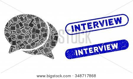 Mosaic Chat And Distressed Stamp Seals With Interview Phrase. Mosaic Vector Chat Is Created With Ran