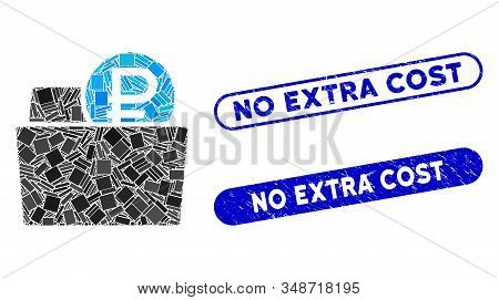 Mosaic Rouble Wallet And Corroded Stamp Seals With No Extra Cost Phrase. Mosaic Vector Rouble Wallet
