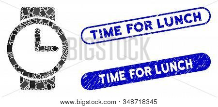 Mosaic Watches And Corroded Stamp Seals With Time For Lunch Text. Mosaic Vector Watches Is Designed