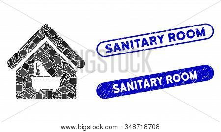 Mosaic Bathroom And Distressed Stamp Seals With Sanitary Room Caption. Mosaic Vector Bathroom Is Cre