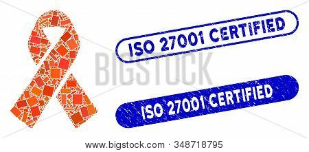 Mosaic Ribbon And Grunge Stamp Watermarks With Iso 27001 Certified Text. Mosaic Vector Ribbon Is Com