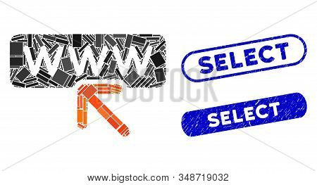 Mosaic Select Website And Grunge Stamp Seals With Select Phrase. Mosaic Vector Select Website Is For