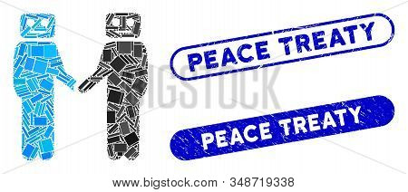 Mosaic Cyborg Meeting And Corroded Stamp Seals With Peace Treaty Caption. Mosaic Vector Cyborg Meeti