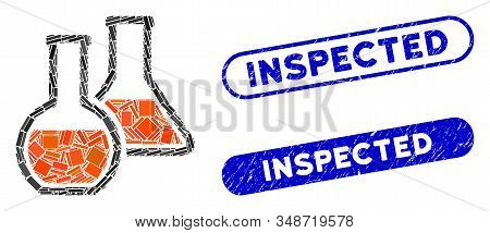 Mosaic Glass Flasks And Corroded Stamp Seals With Inspected Text. Mosaic Vector Glass Flasks Is Desi
