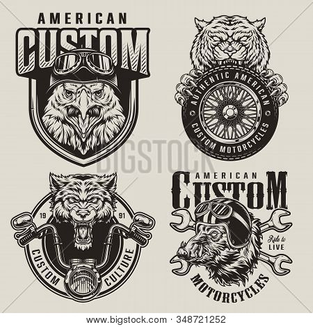 Vintage Animals Bikers Mascots Labels With Angry Eagle And Wild Boar Heads In Moto Helmets Aggressiv