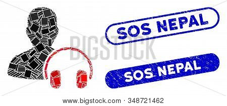 Mosaic Operator And Rubber Stamp Seals With Sos Nepal Phrase. Mosaic Vector Operator Is Designed Wit