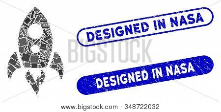 Collage Startup Rocket And Grunge Stamp Seals With Designed In Nasa Phrase. Mosaic Vector Startup Ro