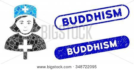 Mosaic Catholic Lady Doctor And Grunge Stamp Seals With Buddhism Text. Mosaic Vector Catholic Lady D