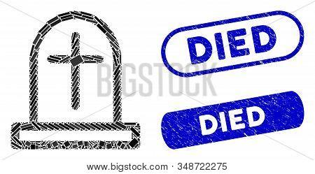 Mosaic Tombstone And Distressed Stamp Seals With Died Caption. Mosaic Vector Tombstone Is Created Wi