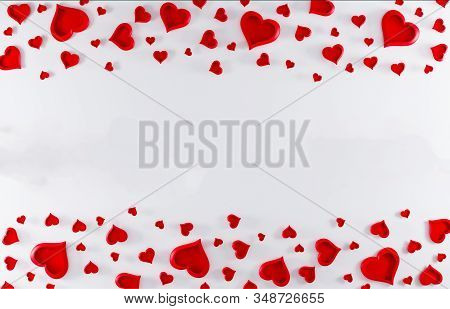 Valentines Day White Background With Red Hearts. Valentines Day Concept. Top View. Romantic Backgrou