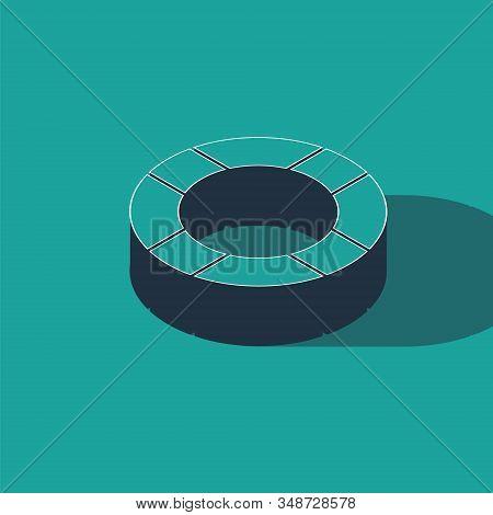 Isometric Lifebuoy Icon Isolated On Green Background. Lifebelt Symbol. Vector Illustration