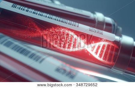 Blood Cells, Molecule Of Dna Forming Inside The Test Tube. 3d Illustration, Conceptual Image Of Scie