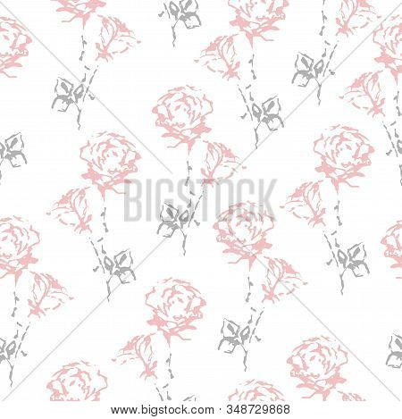 Vector. Seamless Pattern Of Roses. Delicate Pink Flowers. Stock Illustration.