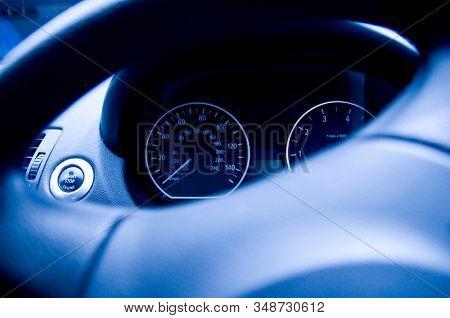 Blue tone car speedometer gauge