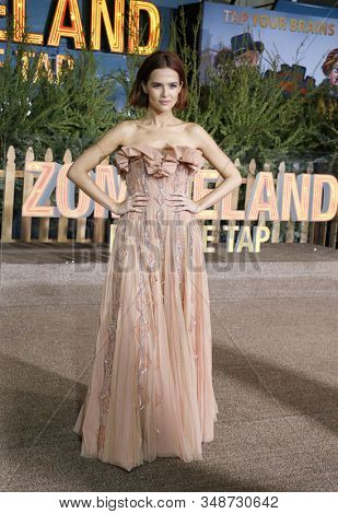 Zoey Deutch at the Los Angeles premiere of 'Zombieland Double Tap' held at the Regency Village Theatre in Westwood, USA on October 10, 2019.