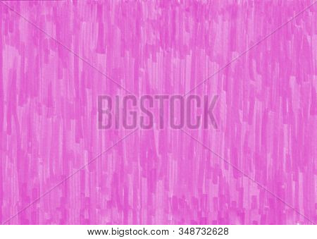 Closeup Of Permanent Pink Marker Doodles Pattern Texture Brushes On White Background