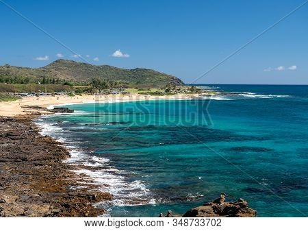 View From Halona Blowhole Down Towards Sandy Beach Near Waikiki In Hawaii