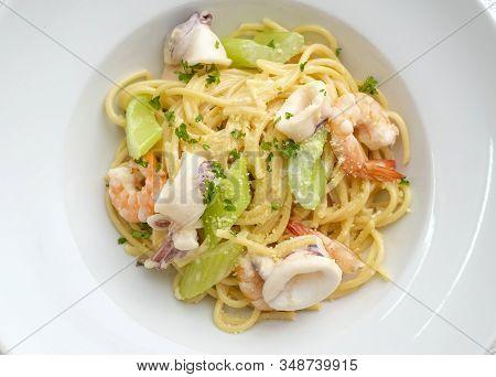 Seafood Spaghetti Aglio Olio For Healthy Eat