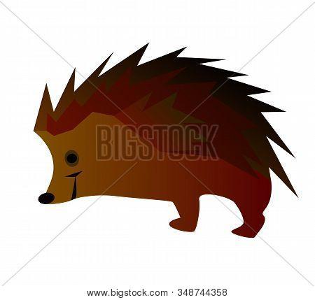 Hedgehog On A White Background. Cartoon Styling. Brown-orange. Vector Illustration.