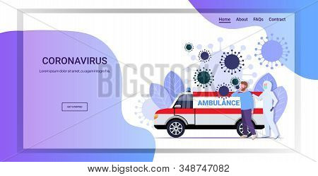 Man In Hazmat Suit Moving Infected Patient Into Ambulance Car Coronavirus Cells Epidemic Mers-cov Vi