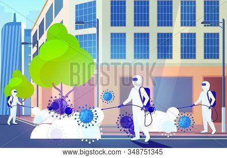 Scientists In Hazmat Suits Cleaning Disinfecting Coronavirus Cells Epidemic Mers-cov Virus Wuhan 201