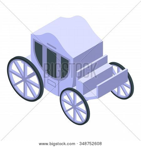 White Royal Carriage Icon. Isometric Of White Royal Carriage Vector Icon For Web Design Isolated On