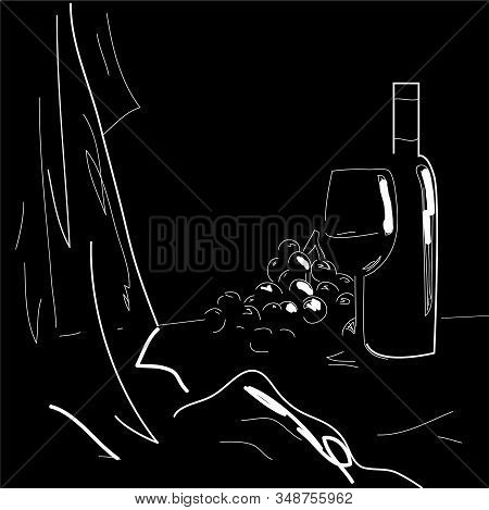Bottle Of Wine With A Glass. Branch Of Grapes. Drawing White Pencil On Black Background. Vector Illu