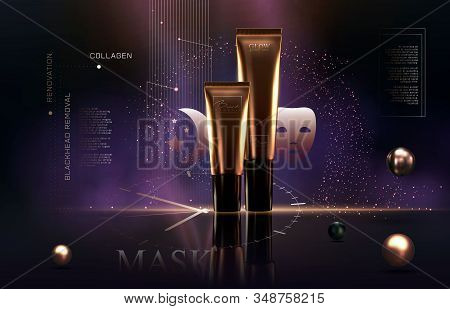 Elegant Golden Cosmetic Luxury Product Background Premium Cream Tube For Skin Care Products. Luxury