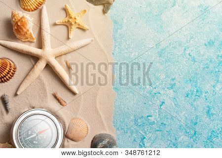 Creative Layout Of Sand Waves And Sea, Summer Beach Background With Shell, Sea Star, Compas, Vacatio