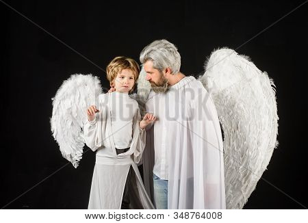 Cute Angel. Gorgeous Kid. Valentines Day. Father And Son Angels. Father's Day. Little Cupid Boy And
